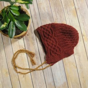 Burgundy Hooded Knit Beanie with Strings